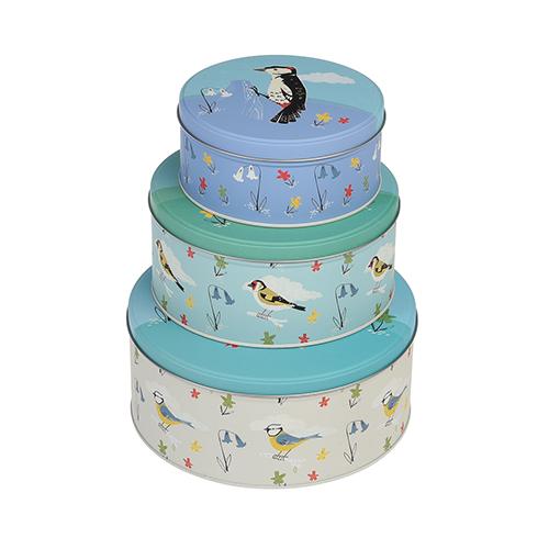 Lot de 3 boites à gâteau - Oiseaux