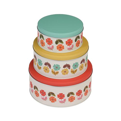 Lot de 3 boites à gâteau - Fleurs années 50