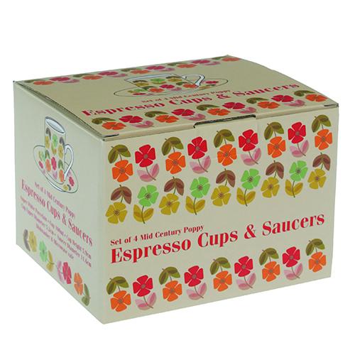 Set de 4 tasses à café Fleurs années 50