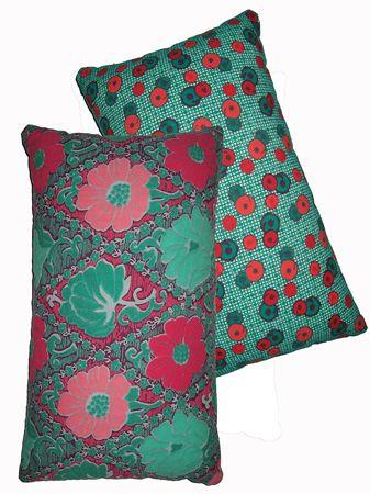 Coussin rectangle Bi-face Glasgow Violet / Bubble Turquoise