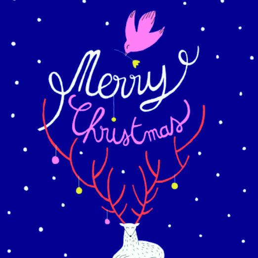 Carte double avec enveloppe - Merry Christmas