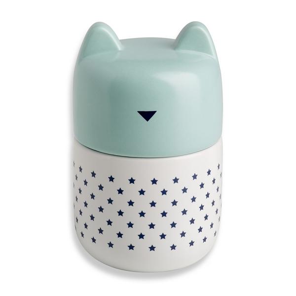Pot en porcelaine Couvercle Tête de chat Bleu