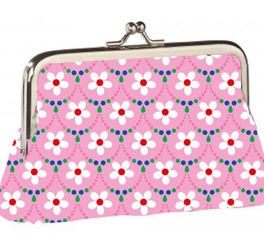 Porte-monnaie rétro fleurs fond rose