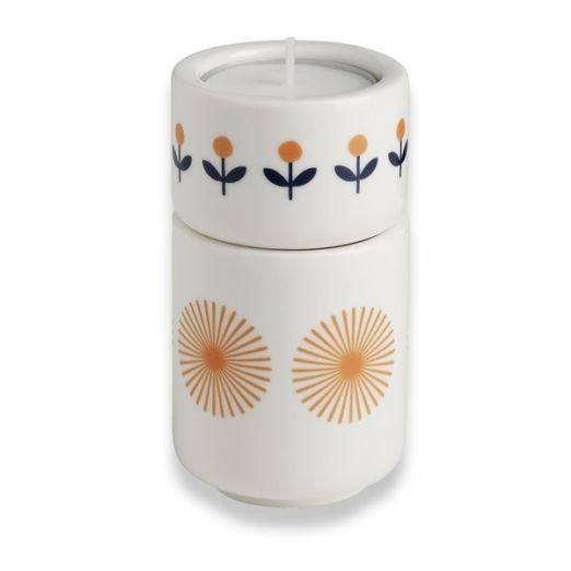 Set de 2 bougeoirs en porcelaine - Orange