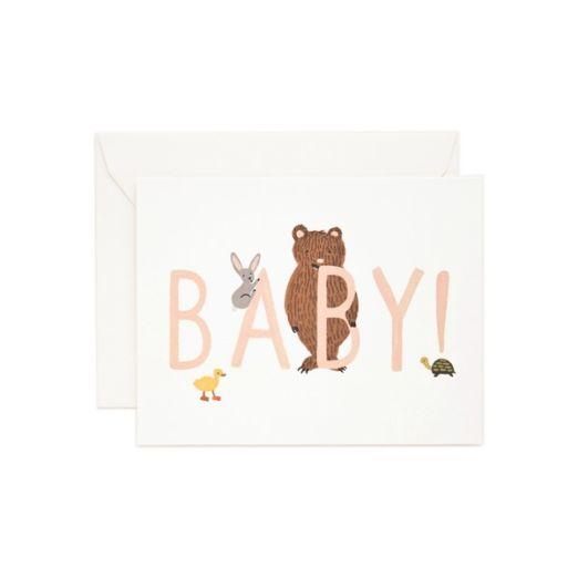 Carte double avec enveloppe - Baby rose