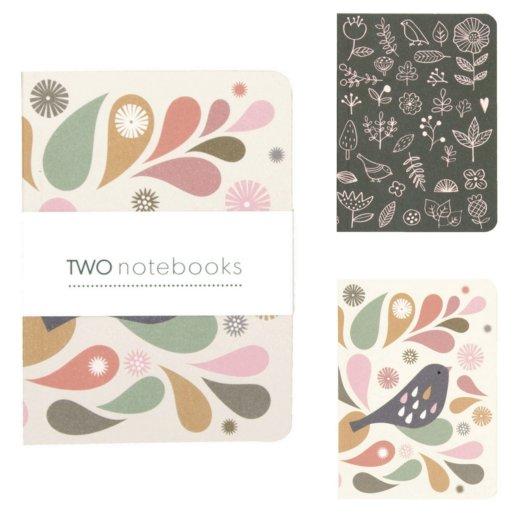 MI P123 Lot de 2 carnets Tableau : Oiseau - 9x12,5cm - 64 pages blanches - Minilabo